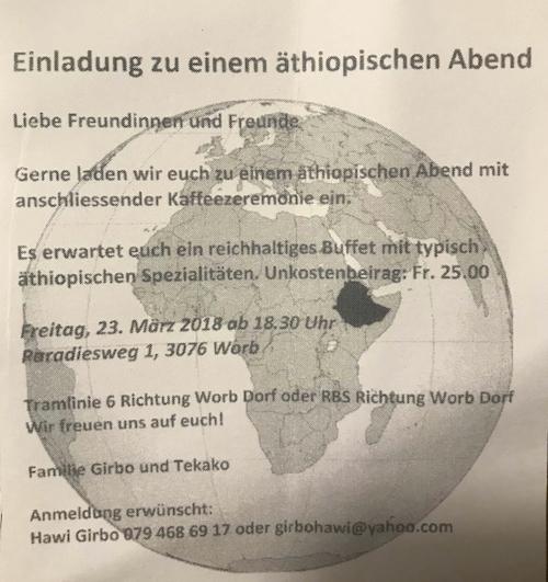 Einladung zu einem äthiopischen Abend 23.03.2018