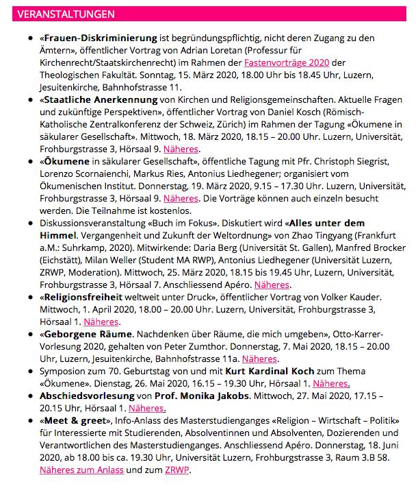 Öffentliche Veranstaltungen über Religionsforschung an der Universität Luzern